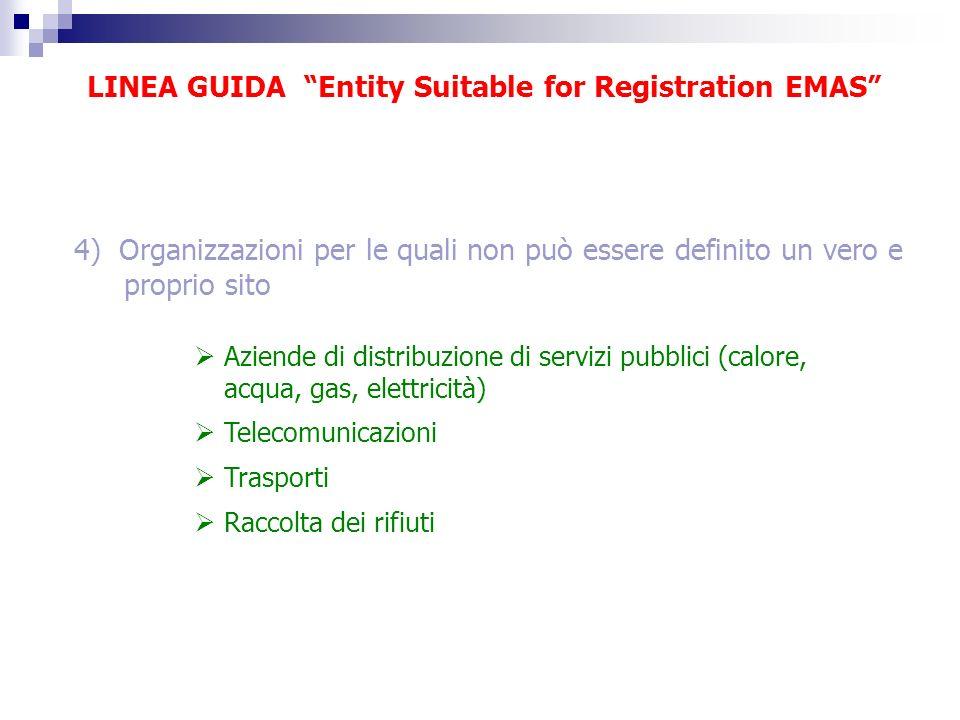 LINEA GUIDA Entity Suitable for Registration EMAS 4) Organizzazioni per le quali non può essere definito un vero e proprio sito Aziende di distribuzio