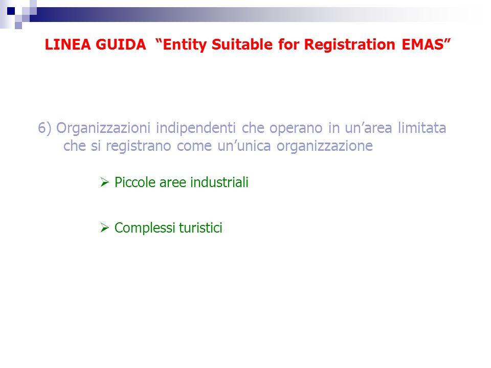 LINEA GUIDA Entity Suitable for Registration EMAS 6) Organizzazioni indipendenti che operano in unarea limitata che si registrano come ununica organiz