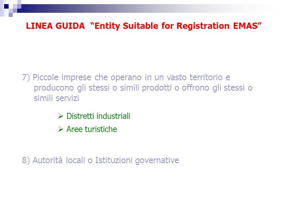 LINEA GUIDA Entity Suitable for Registration EMAS 7) Piccole imprese che operano in un vasto territorio e producono gli stessi o simili prodotti o off