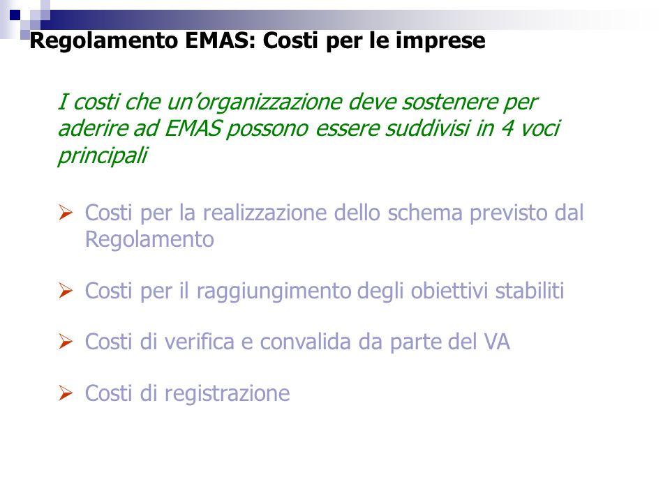 Costi per la realizzazione dello schema previsto dal Regolamento Costi per il raggiungimento degli obiettivi stabiliti Costi di verifica e convalida d