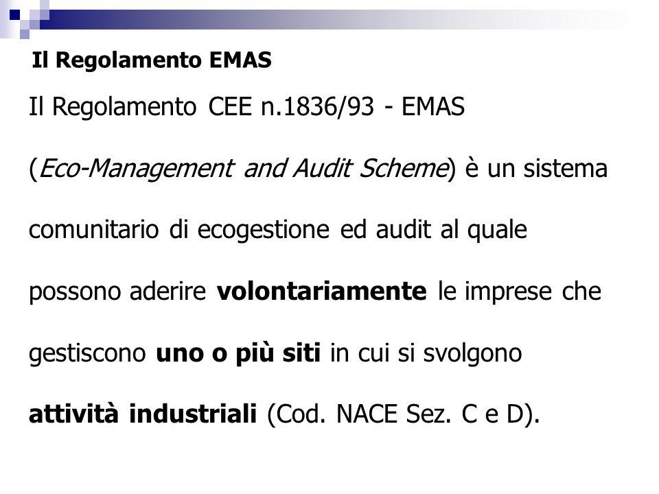 Il Regolamento EMAS Il Regolamento CEE n.1836/93 - EMAS (Eco-Management and Audit Scheme) è un sistema comunitario di ecogestione ed audit al quale po