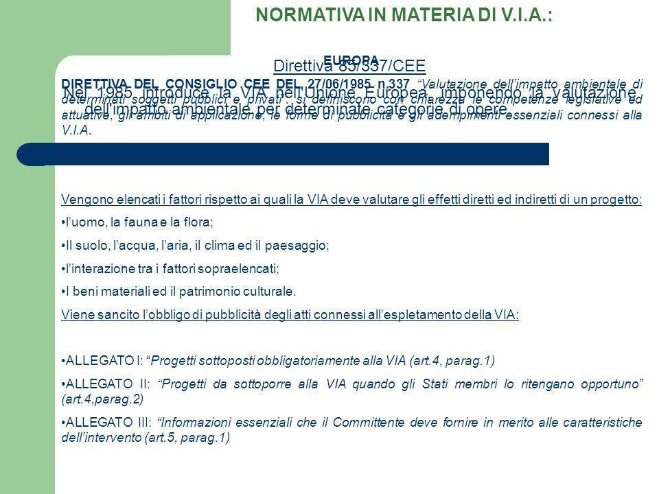 EUROPA DIRETTIVA DEL CONSIGLIO CEE DEL 27/06/1985 n.337 Valutazione dellimpatto ambientale di determinati soggetti pubblici e privati: si definiscono