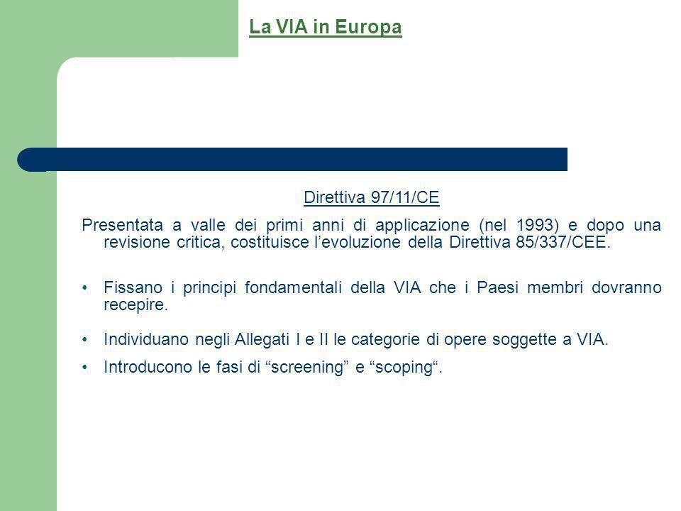 Direttiva 97/11/CE Presentata a valle dei primi anni di applicazione (nel 1993) e dopo una revisione critica, costituisce levoluzione della Direttiva