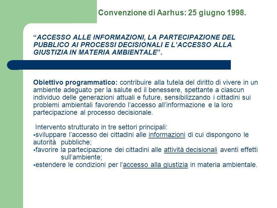 ACCESSO ALLE INFORMAZIONI, LA PARTECIPAZIONE DEL PUBBLICO AI PROCESSI DECISIONALI E LACCESSO ALLA GIUSTIZIA IN MATERIA AMBIENTALE. Obiettivo programma