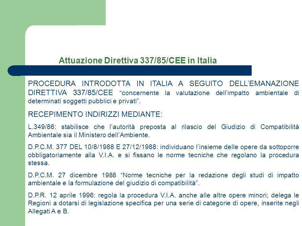 Attuazione Direttiva 337/85/CEE in Italia PROCEDURA INTRODOTTA IN ITALIA A SEGUITO DELLEMANAZIONE DIRETTIVA 337/85/CEE concernente la valutazione dell