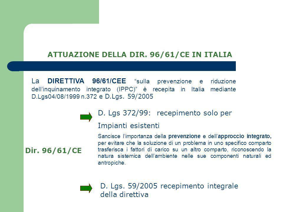 ATTUAZIONE DELLA DIR. 96/61/CE IN ITALIA D. Lgs 372/99: recepimento solo per Impianti esistenti Dir. 96/61/CE D. Lgs. 59/2005 recepimento integrale de