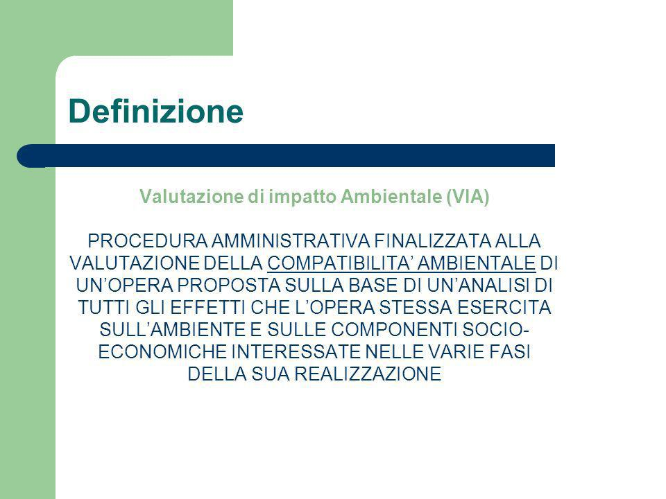 Definizione Valutazione di impatto Ambientale (VIA) PROCEDURA AMMINISTRATIVA FINALIZZATA ALLA VALUTAZIONE DELLA COMPATIBILITA AMBIENTALE DI UNOPERA PR