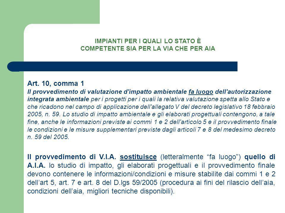 Art. 10, comma 1 Il provvedimento di valutazione d'impatto ambientale fa luogo dell'autorizzazione integrata ambientale per i progetti per i quali la