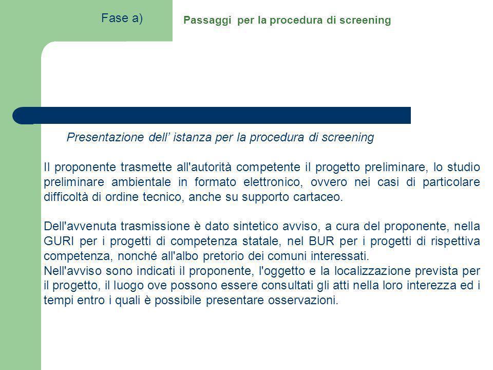 Passaggi per la procedura di screening Presentazione dell istanza per la procedura di screening Il proponente trasmette all'autorità competente il pro