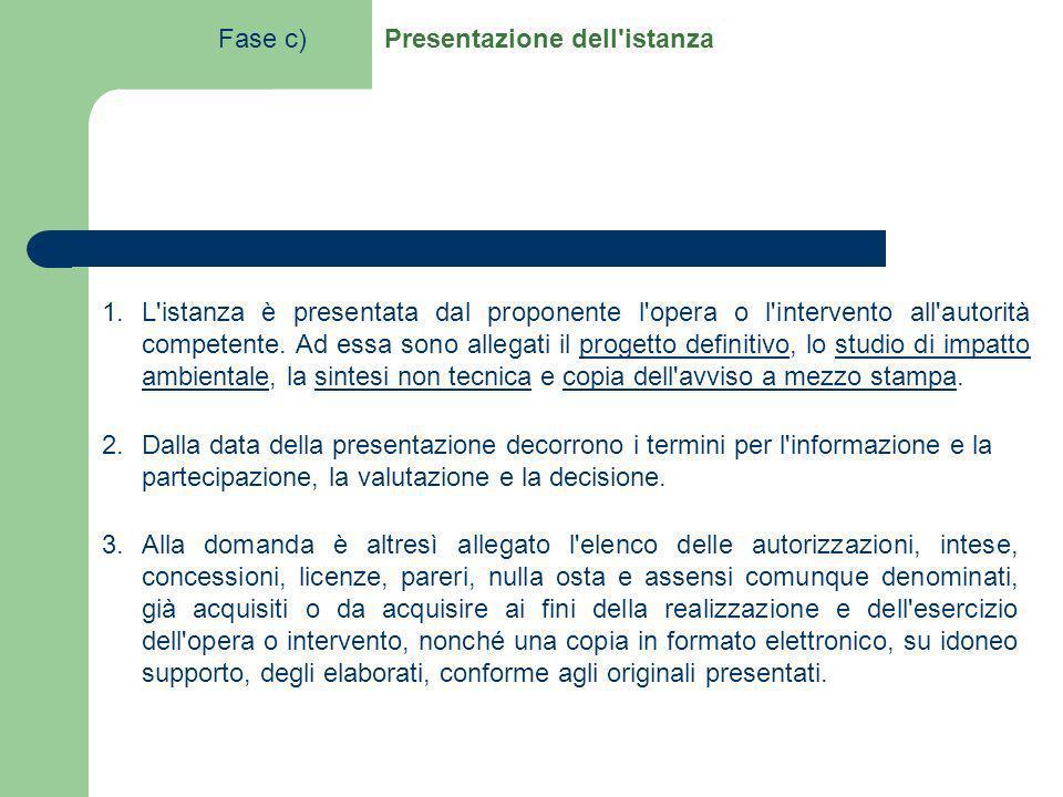 1.L'istanza è presentata dal proponente l'opera o l'intervento all'autorità competente. Ad essa sono allegati il progetto definitivo, lo studio di imp