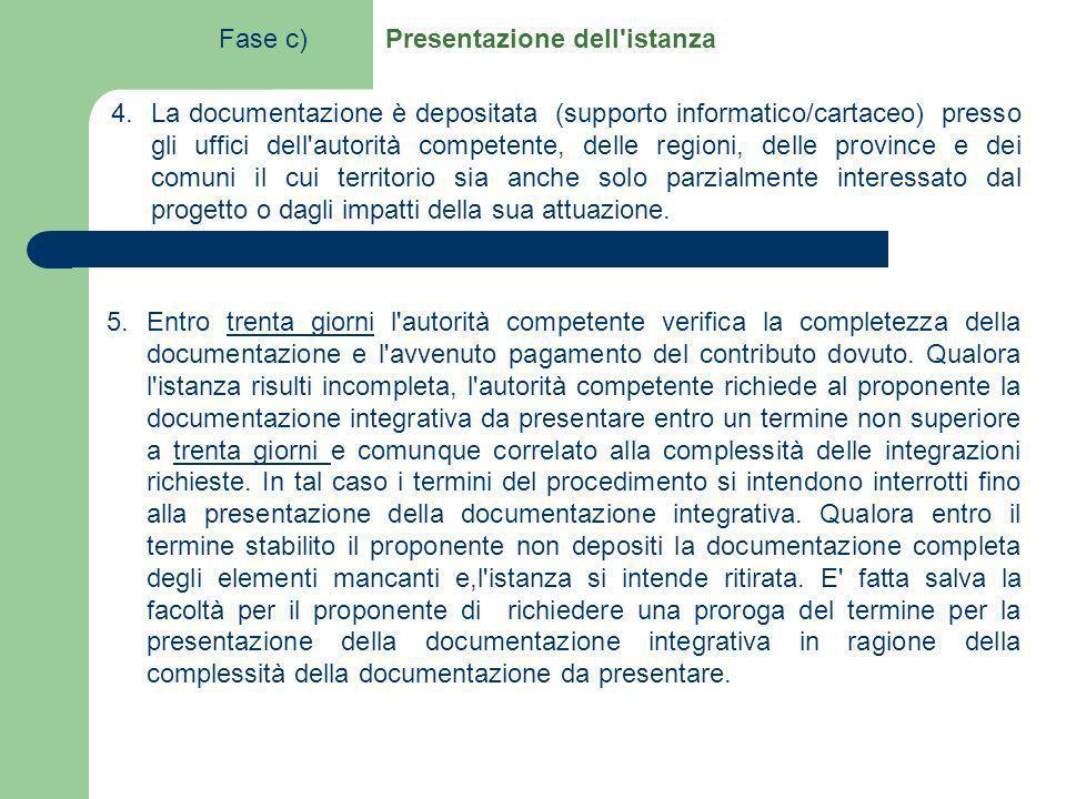 5.Entro trenta giorni l'autorità competente verifica la completezza della documentazione e l'avvenuto pagamento del contributo dovuto. Qualora l'istan