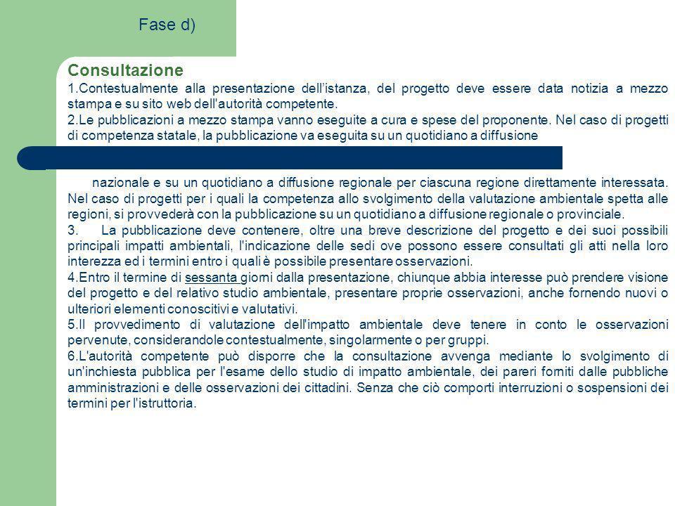 Consultazione 1.Contestualmente alla presentazione dellistanza, del progetto deve essere data notizia a mezzo stampa e su sito web dell'autorità compe
