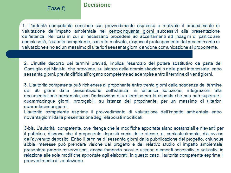 Decisione 1. L'autorità competente conclude con provvedimento espresso e motivato il procedimento di valutazione dell'impatto ambientale nei centocinq