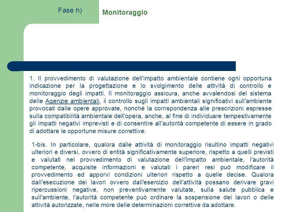 Monitoraggio 1. Il provvedimento di valutazione dell'impatto ambientale contiene ogni opportuna indicazione per la progettazione e lo svolgimento dell