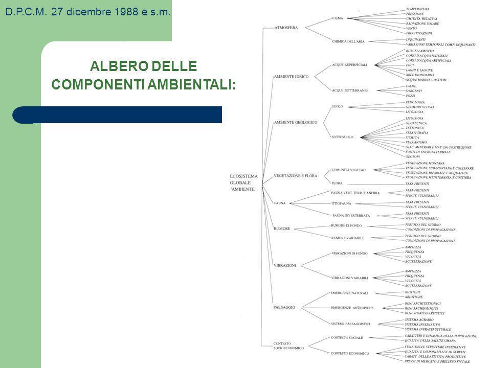 ALBERO DELLE COMPONENTI AMBIENTALI: D.P.C.M. 27 dicembre 1988 e s.m.
