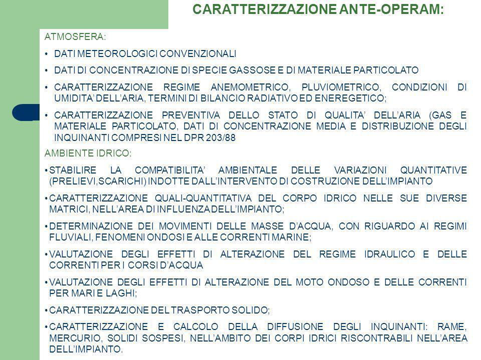 CARATTERIZZAZIONE ANTE-OPERAM: ATMOSFERA: DATI METEOROLOGICI CONVENZIONALI DATI DI CONCENTRAZIONE DI SPECIE GASSOSE E DI MATERIALE PARTICOLATO CARATTE