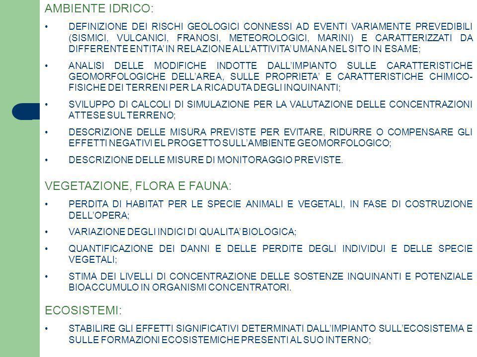 AMBIENTE IDRICO: DEFINIZIONE DEI RISCHI GEOLOGICI CONNESSI AD EVENTI VARIAMENTE PREVEDIBILI (SISMICI, VULCANICI, FRANOSI, METEOROLOGICI, MARINI) E CAR