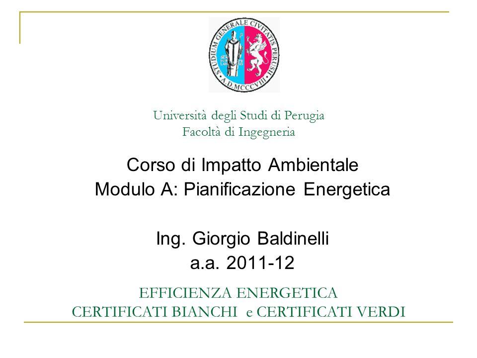 Università degli Studi di Perugia Facoltà di Ingegneria EFFICIENZA ENERGETICA CERTIFICATI BIANCHI e CERTIFICATI VERDI Corso di Impatto Ambientale Modu