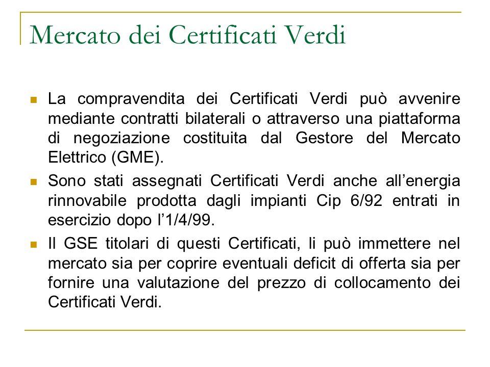 Mercato dei Certificati Verdi La compravendita dei Certificati Verdi può avvenire mediante contratti bilaterali o attraverso una piattaforma di negozi