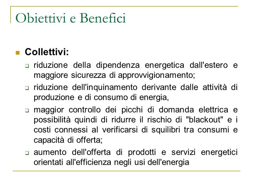 Obiettivi e Benefici Collettivi: riduzione della dipendenza energetica dall'estero e maggiore sicurezza di approvvigionamento; riduzione dell'inquinam