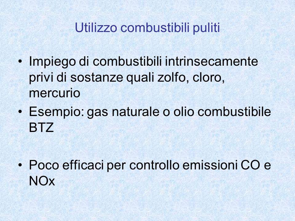 Utilizzo combustibili puliti Impiego di combustibili intrinsecamente privi di sostanze quali zolfo, cloro, mercurio Esempio: gas naturale o olio combu