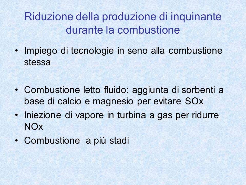 Riduzione della produzione di inquinante durante la combustione Impiego di tecnologie in seno alla combustione stessa Combustione letto fluido: aggiun