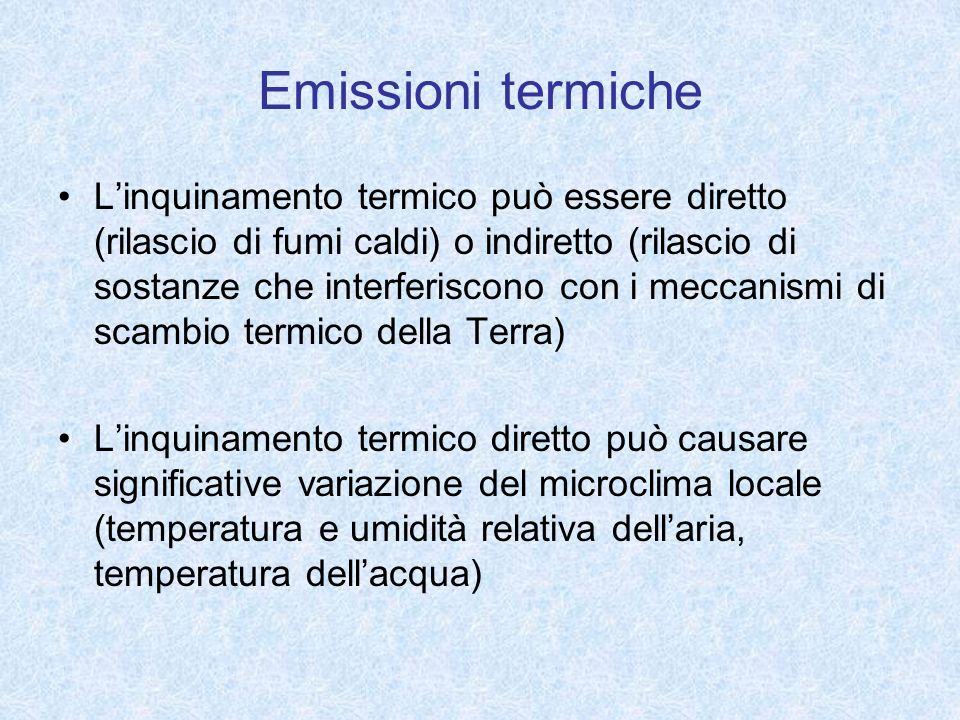 Emissioni termiche Linquinamento termico può essere diretto (rilascio di fumi caldi) o indiretto (rilascio di sostanze che interferiscono con i meccan