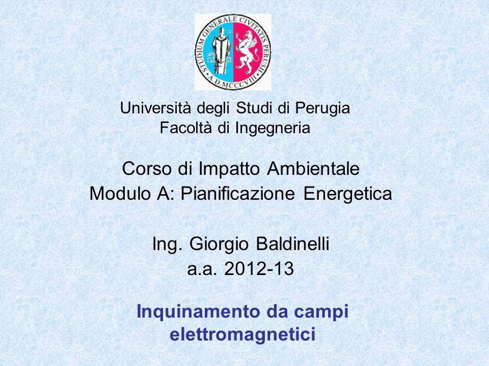 Università degli Studi di Perugia Facoltà di Ingegneria Inquinamento da campi elettromagnetici Corso di Impatto Ambientale Modulo A: Pianificazione En