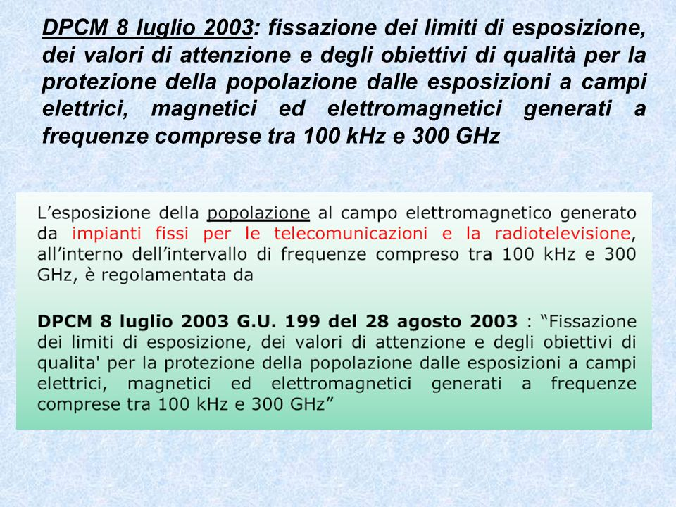 DPCM 8 luglio 2003: fissazione dei limiti di esposizione, dei valori di attenzione e degli obiettivi di qualità per la protezione della popolazione da