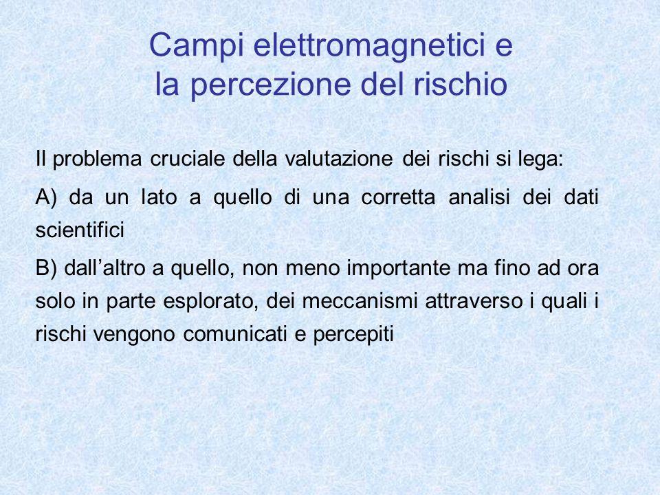 Campi elettromagnetici e la percezione del rischio Il problema cruciale della valutazione dei rischi si lega: A) da un lato a quello di una corretta a