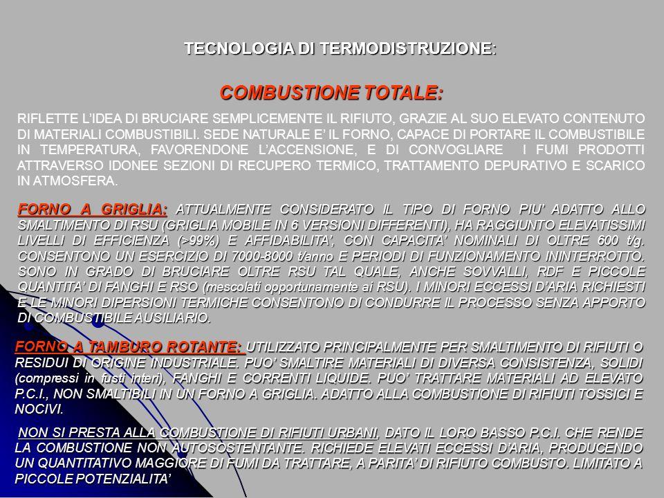 TECNOLOGIA DI TERMODISTRUZIONE: FORNO A GRIGLIA: ATTUALMENTE CONSIDERATO IL TIPO DI FORNO PIU ADATTO ALLO SMALTIMENTO DI RSU (GRIGLIA MOBILE IN 6 VERS