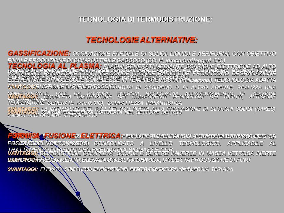 TECNOLOGIA DI TERMODISTRUZIONE: TECNOLOGIE ALTERNATIVE: GASSIFICAZIONE: OSSIDAZIONE PARZIALE DI SOLIDI, LIQUIDI E AERIFORMI, CON OBIETTIVO FINALE PROD