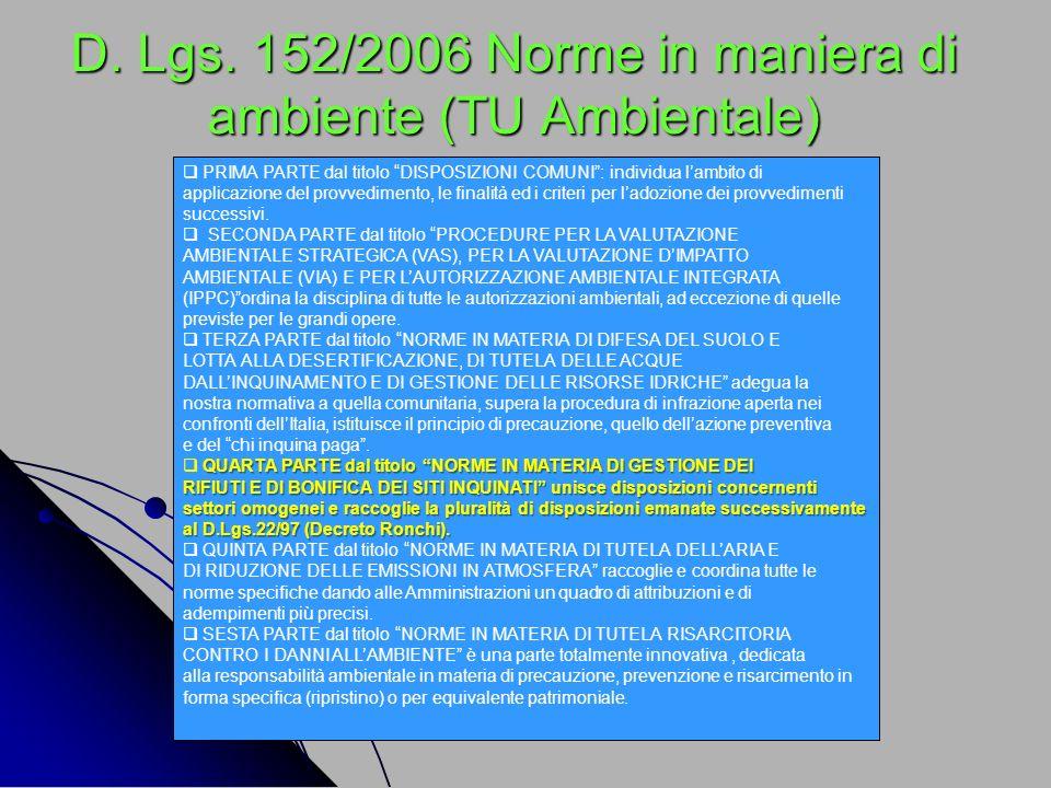 D. Lgs. 152/2006 Norme in maniera di ambiente (TU Ambientale) PRIMA PARTE dal titolo DISPOSIZIONI COMUNI: individua lambito di applicazione del provve