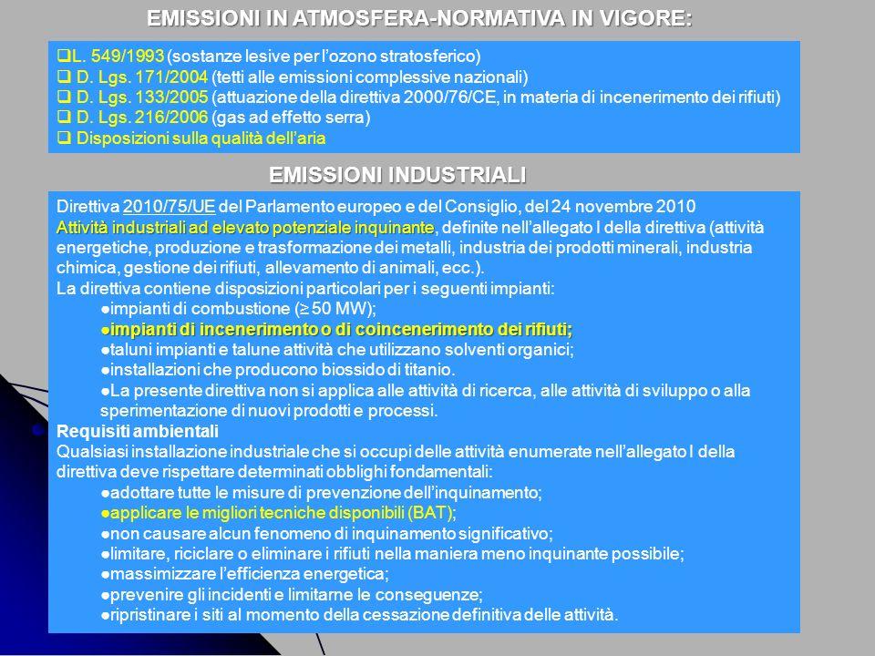 EMISSIONI IN ATMOSFERA-NORMATIVA IN VIGORE: L. 549/1993 (sostanze lesive per lozono stratosferico) D. Lgs. 171/2004 (tetti alle emissioni complessive