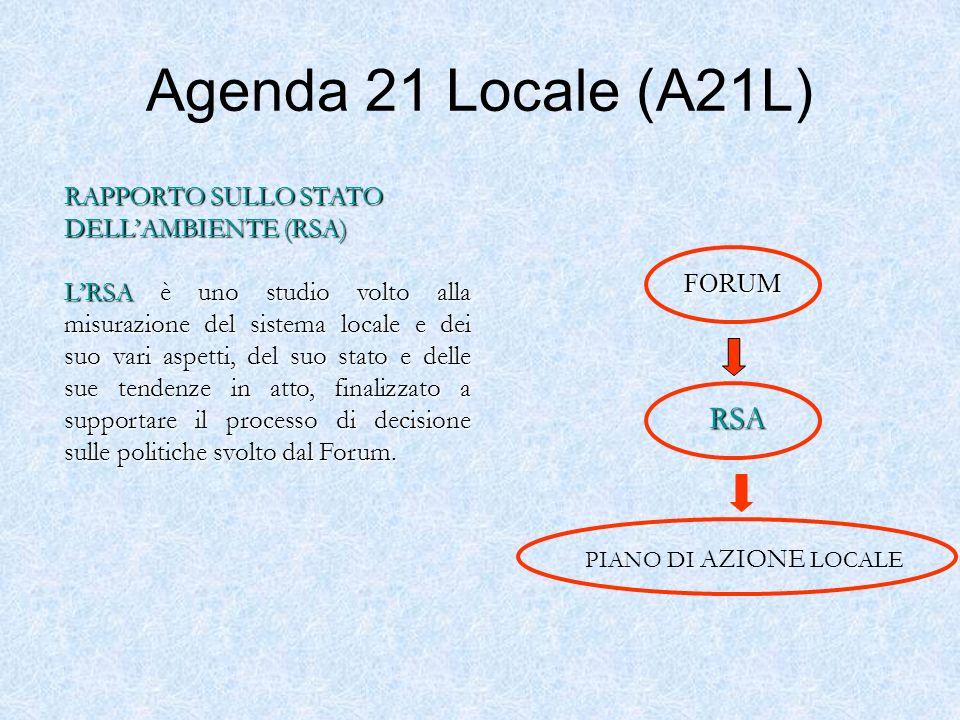 Agenda 21 Locale (A21L) PIANO DI AZIONE LOCALE FORUM FORUM RSA RAPPORTO SULLO STATO DELLAMBIENTE (RSA) LRSA è uno studio volto alla misurazione del si