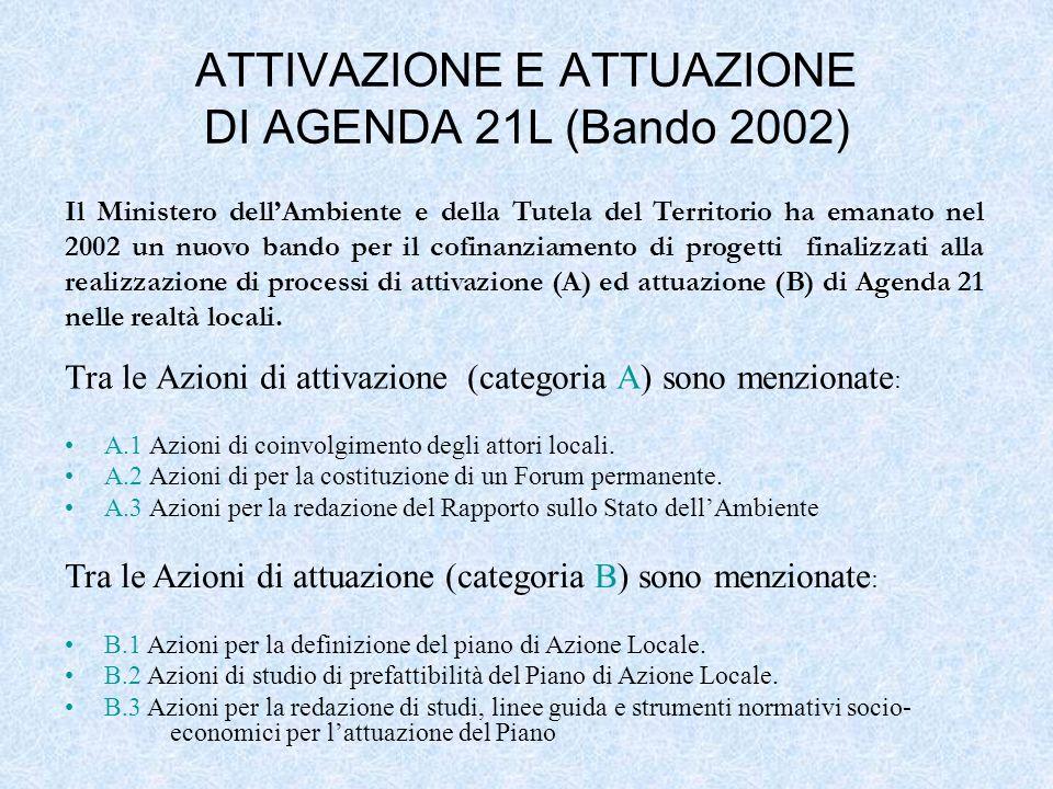 Tra le Azioni di attivazione (categoria A) sono menzionate : A.1 Azioni di coinvolgimento degli attori locali. A.2 Azioni di per la costituzione di un