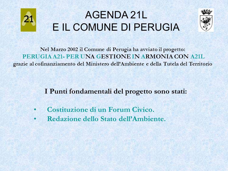 Nel Marzo 2002 il Comune di Perugia ha avviato il progetto: PERUGIA A21- PER UNA GESTIONE IN ARMONIA CON A21L grazie al cofinanziamento del Ministero