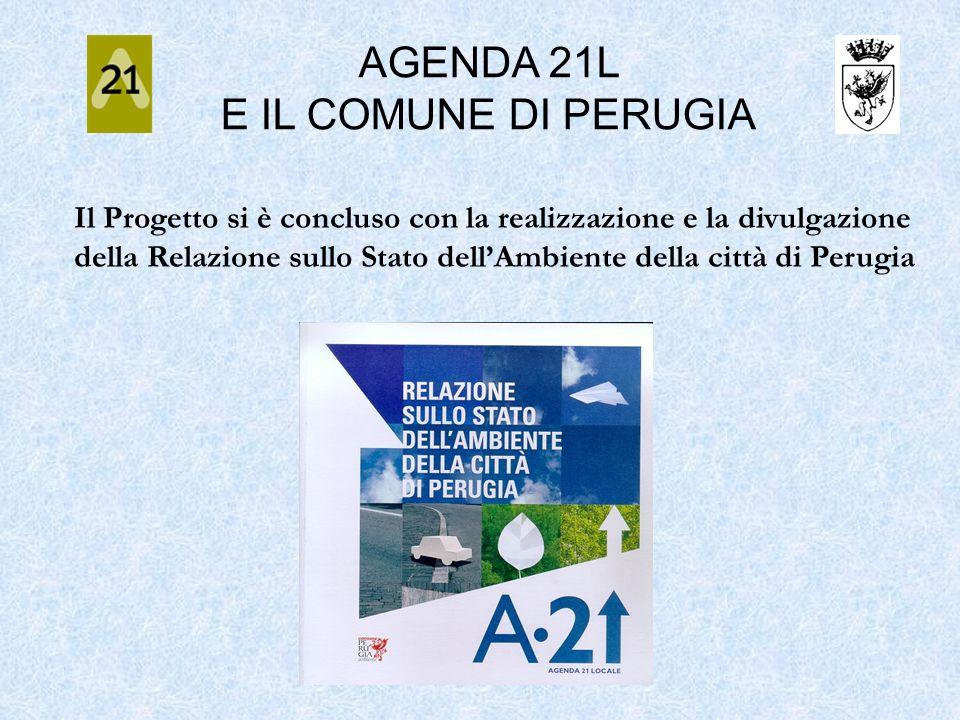 AGENDA 21L E IL COMUNE DI PERUGIA Il Progetto si è concluso con la realizzazione e la divulgazione della Relazione sullo Stato dellAmbiente della citt