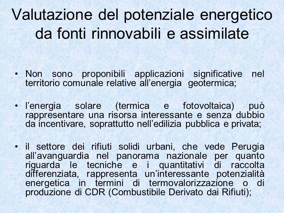 Valutazione del potenziale energetico da fonti rinnovabili e assimilate Non sono proponibili applicazioni significative nel territorio comunale relati