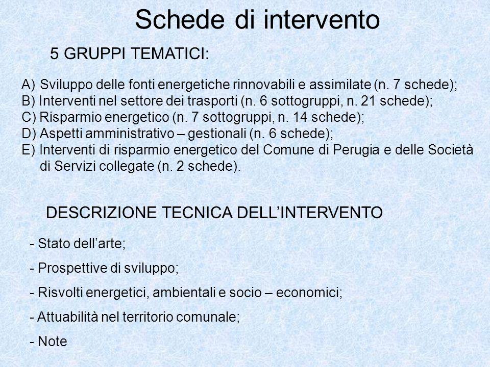 Schede di intervento 5 GRUPPI TEMATICI: A)Sviluppo delle fonti energetiche rinnovabili e assimilate (n. 7 schede); B) Interventi nel settore dei trasp