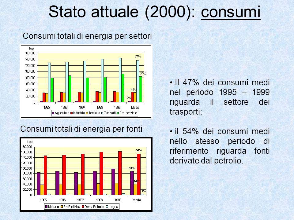 Stato attuale (2000): consumi Consumi totali di energia per fonti Consumi totali di energia per settori Il 47% dei consumi medi nel periodo 1995 – 1999 riguarda il settore dei trasporti; il 54% dei consumi medi nello stesso periodo di riferimento riguarda fonti derivate dal petrolio.