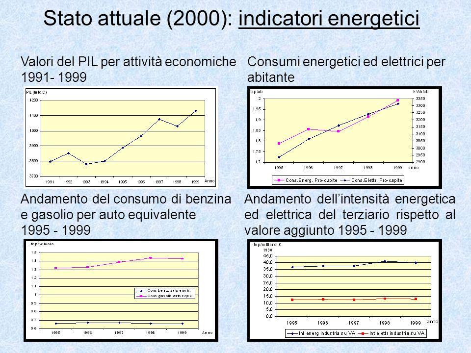 Stato attuale (2000): indicatori energetici Valori del PIL per attività economiche 1991- 1999 Consumi energetici ed elettrici per abitante Andamento d