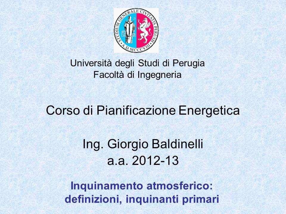 Università degli Studi di Perugia Facoltà di Ingegneria Inquinamento atmosferico: definizioni, inquinanti primari Corso di Pianificazione Energetica I