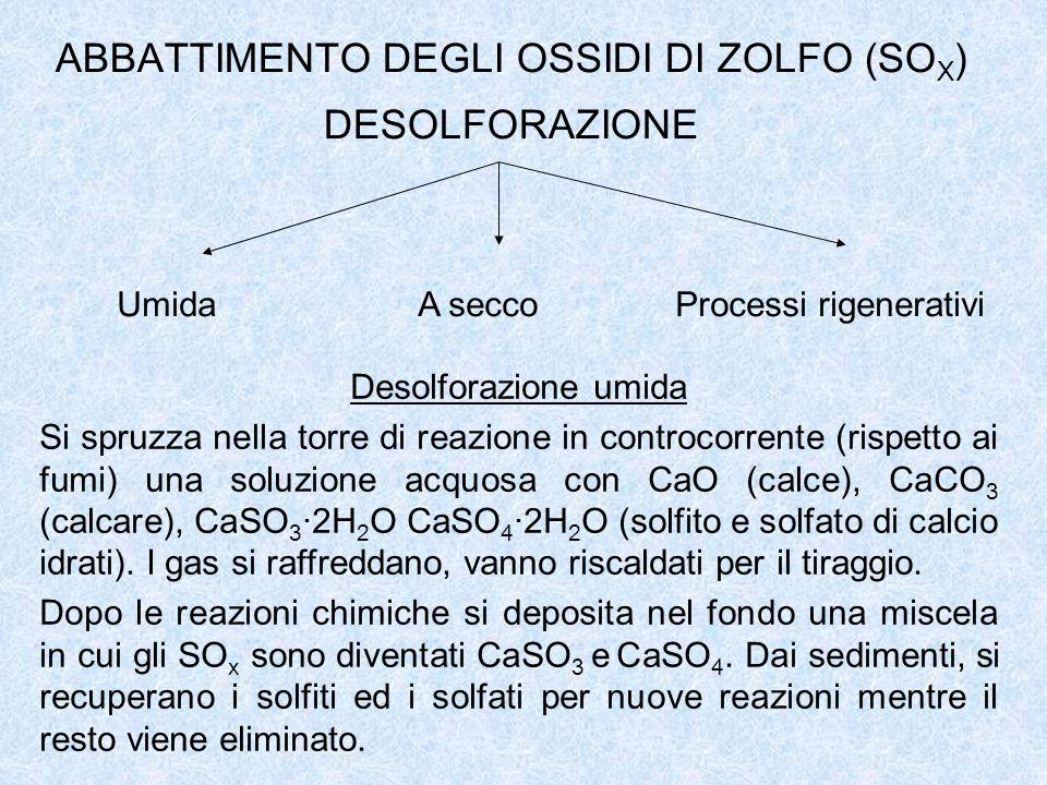 ABBATTIMENTO DEGLI OSSIDI DI ZOLFO (SO X ) DESOLFORAZIONE Umida A secco Processi rigenerativi Desolforazione umida Si spruzza nella torre di reazione