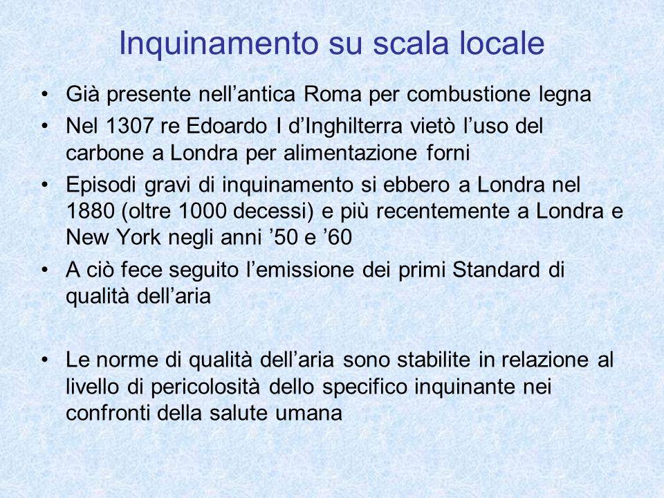 Inquinamento su scala locale Già presente nellantica Roma per combustione legna Nel 1307 re Edoardo I dInghilterra vietò luso del carbone a Londra per
