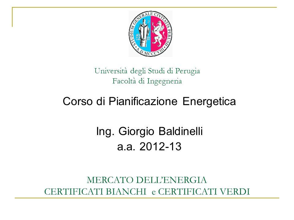 Università degli Studi di Perugia Facoltà di Ingegneria MERCATO DELLENERGIA CERTIFICATI BIANCHI e CERTIFICATI VERDI Corso di Pianificazione Energetica