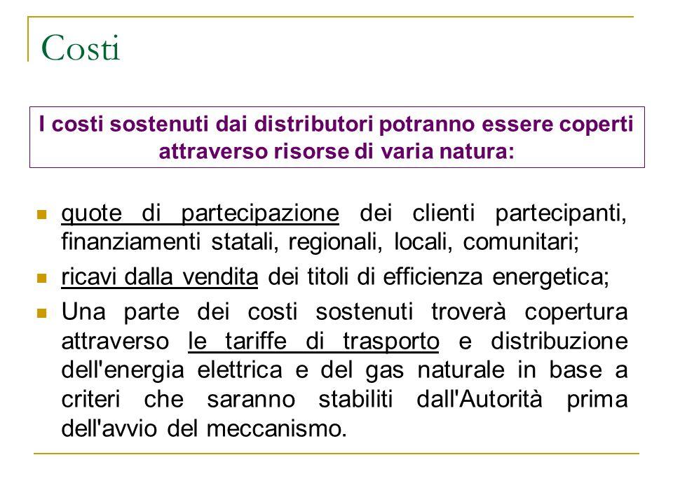 Costi quote di partecipazione dei clienti partecipanti, finanziamenti statali, regionali, locali, comunitari; ricavi dalla vendita dei titoli di effic