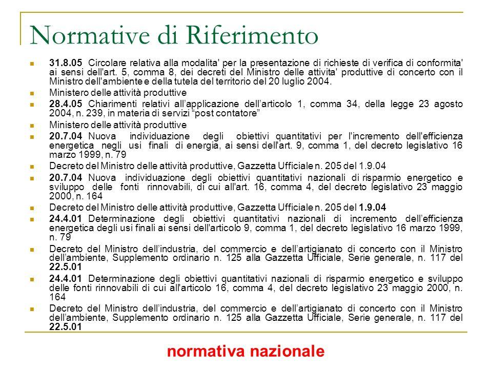 Normative di Riferimento 31.8.05Circolare relativa alla modalita' per la presentazione di richieste di verifica di conformita' ai sensi dell'art. 5, c