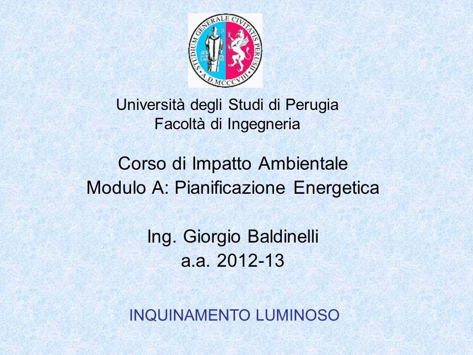 Università degli Studi di Perugia Facoltà di Ingegneria INQUINAMENTO LUMINOSO Corso di Impatto Ambientale Modulo A: Pianificazione Energetica Ing.