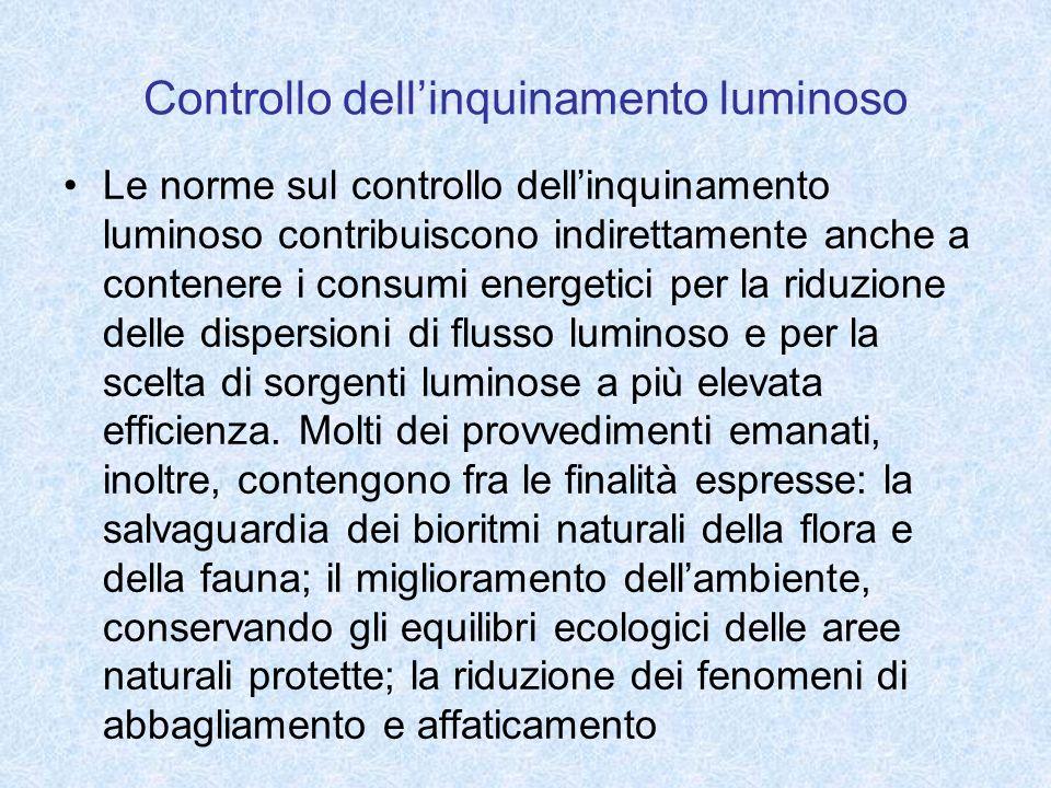 Controllo dellinquinamento luminoso Le norme sul controllo dellinquinamento luminoso contribuiscono indirettamente anche a contenere i consumi energetici per la riduzione delle dispersioni di flusso luminoso e per la scelta di sorgenti luminose a più elevata efficienza.